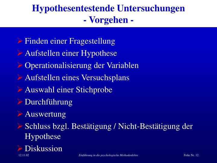 Hypothesentestende Untersuchungen