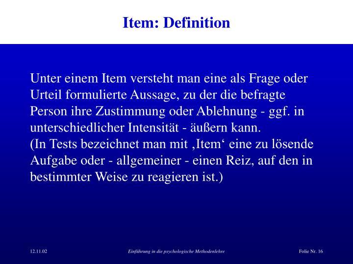 Item: Definition