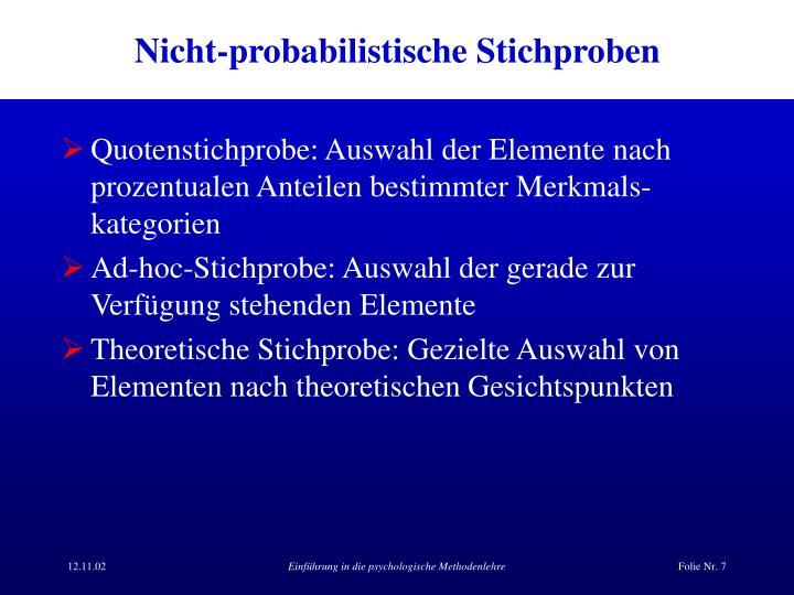 Nicht-probabilistische Stichproben