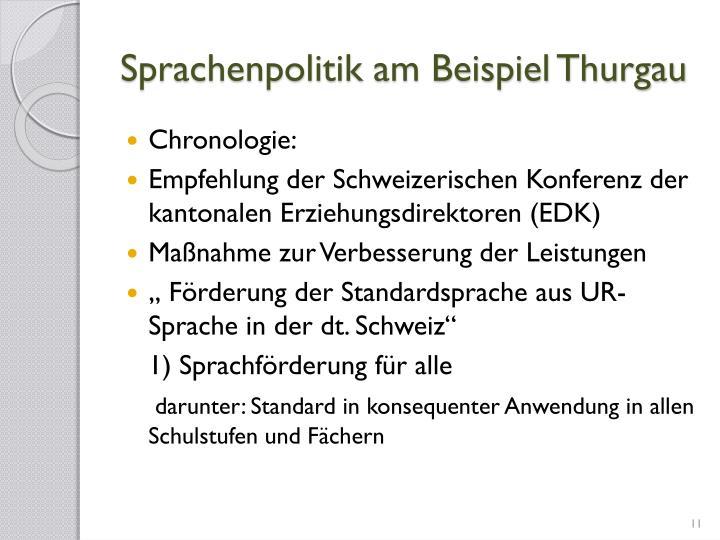 Sprachenpolitik am Beispiel Thurgau