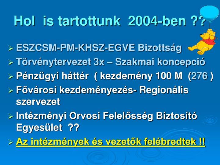 Hol  is tartottunk  2004-ben ??