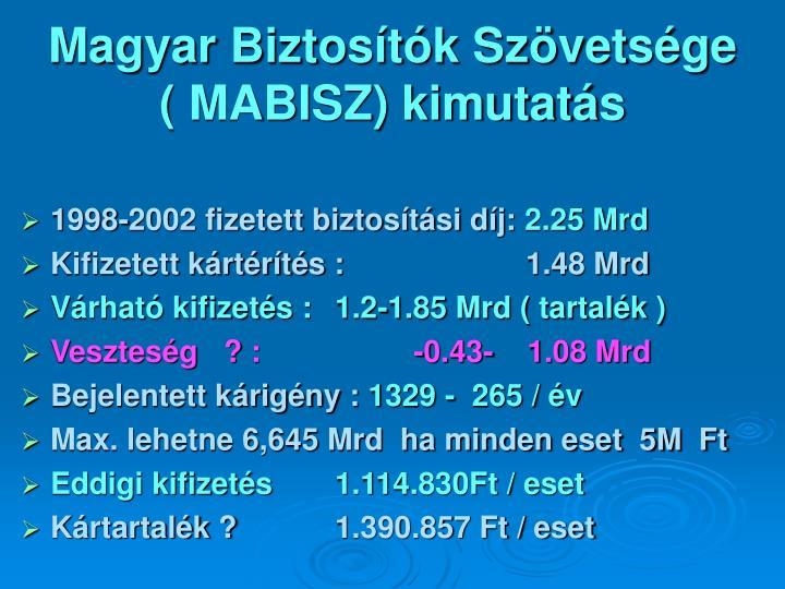 Magyar Biztosítók Szövetsége     ( MABISZ) kimutatás