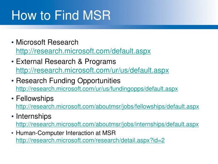 How to Find MSR