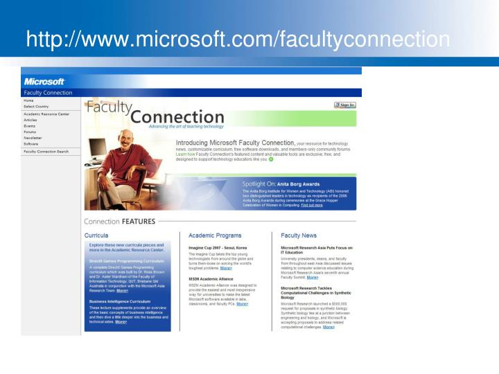 http://www.microsoft.com/facultyconnection