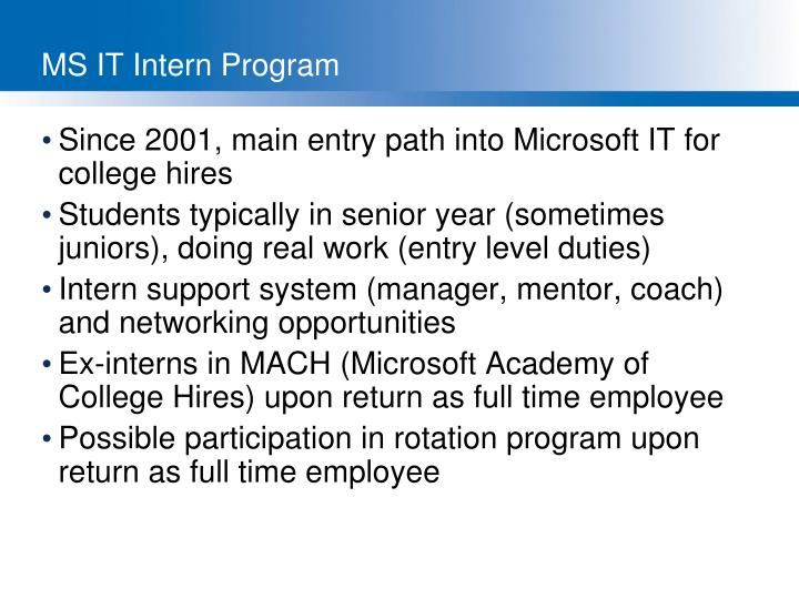 MS IT Intern Program