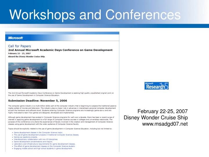 Workshops and Conferences
