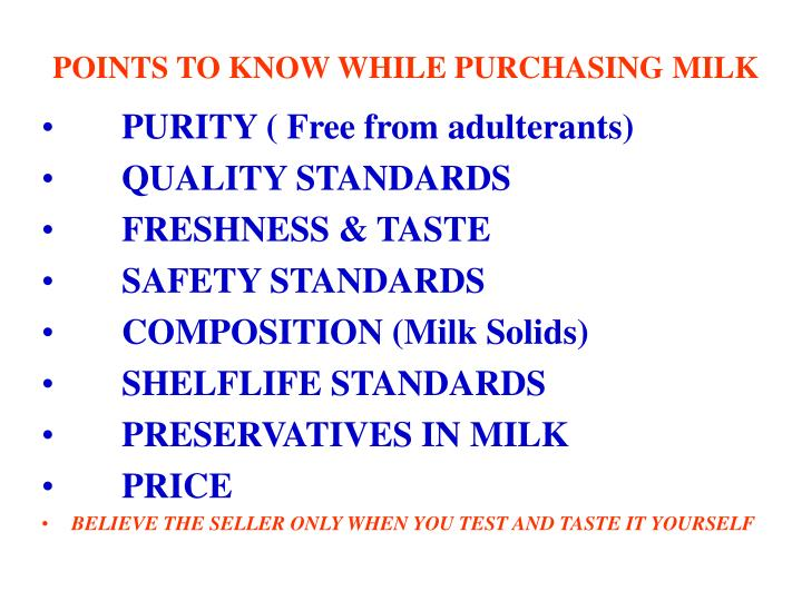 POINTS TO KNOW WHILE PURCHASING MILK