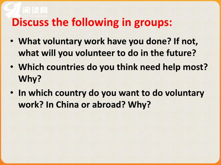 Discuss the following in groups: