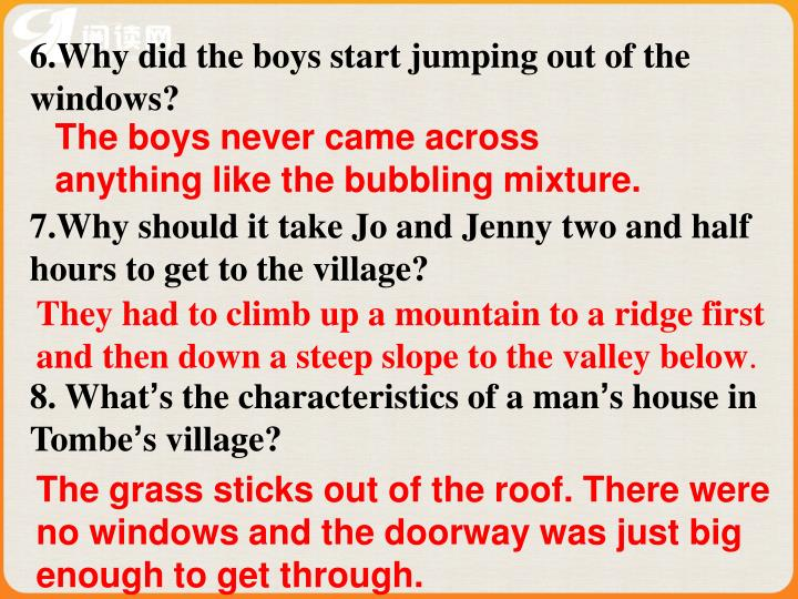 6.Why did the boys start jumping out of the windows?