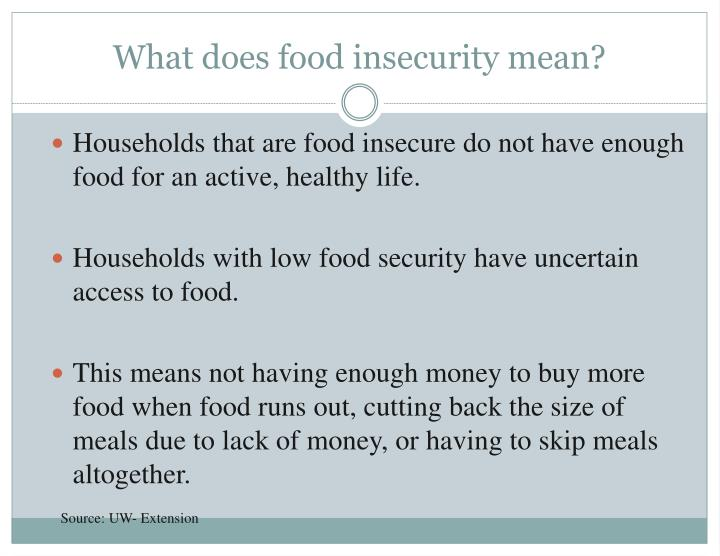 What does food insecurity mean?