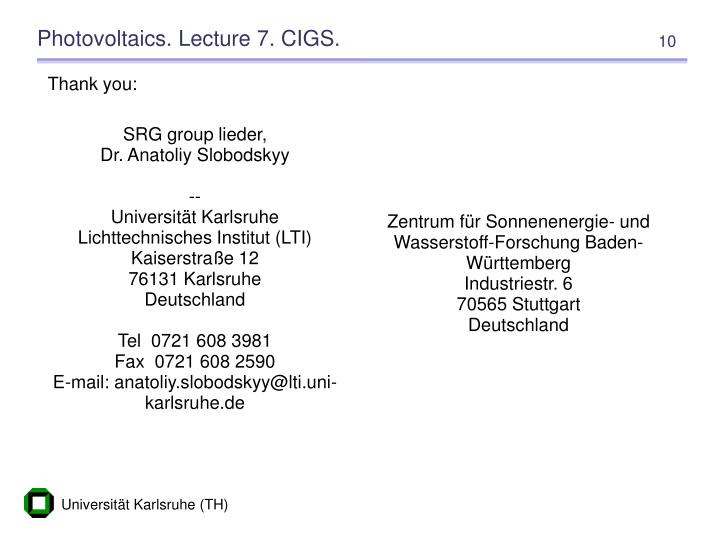 Photovoltaics. Lecture 7. CIGS.