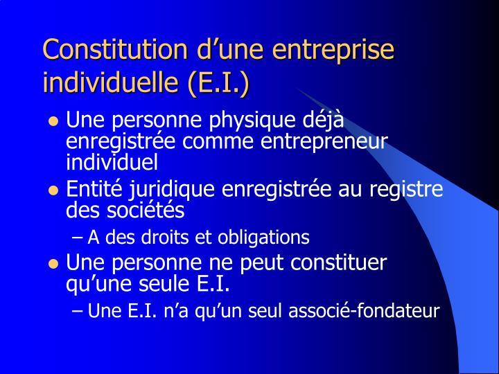 Constitution d'une entreprise individuelle (E.I.)