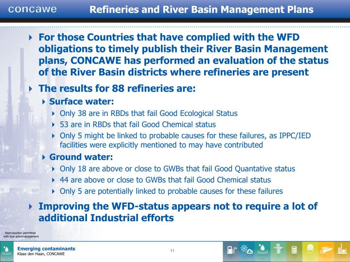 Refineries and River Basin Management Plans