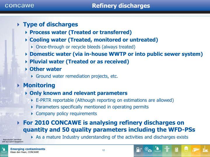 Refinery discharges