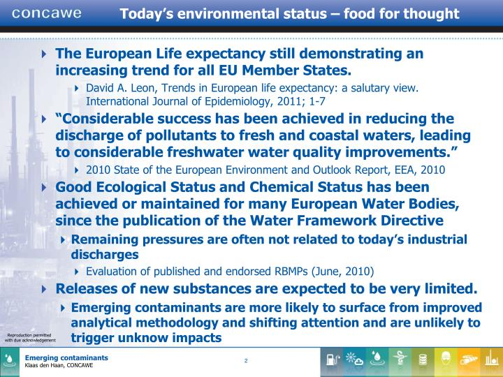 Today's environmental status – food for thought