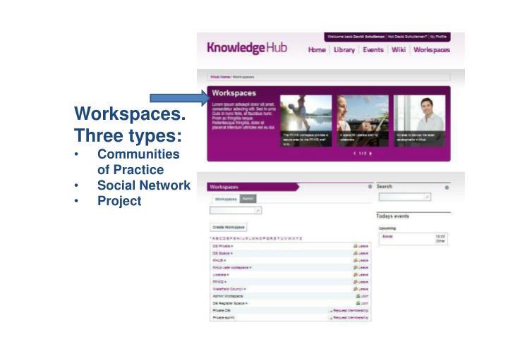 Workspaces. Three types: