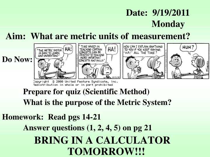aim what are metric units of measurement