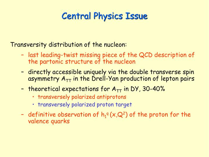 Central physics issue