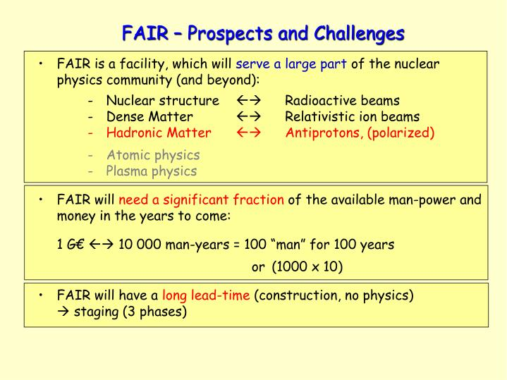 FAIR – Prospects and Challenges