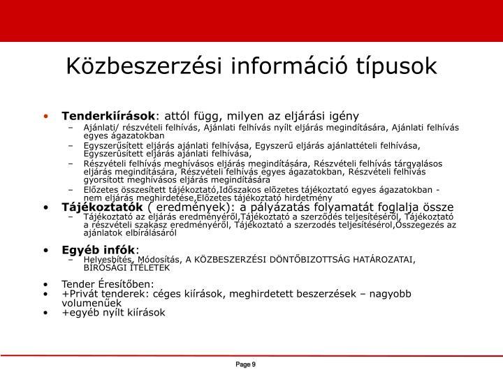 Közbeszerzési információ típusok