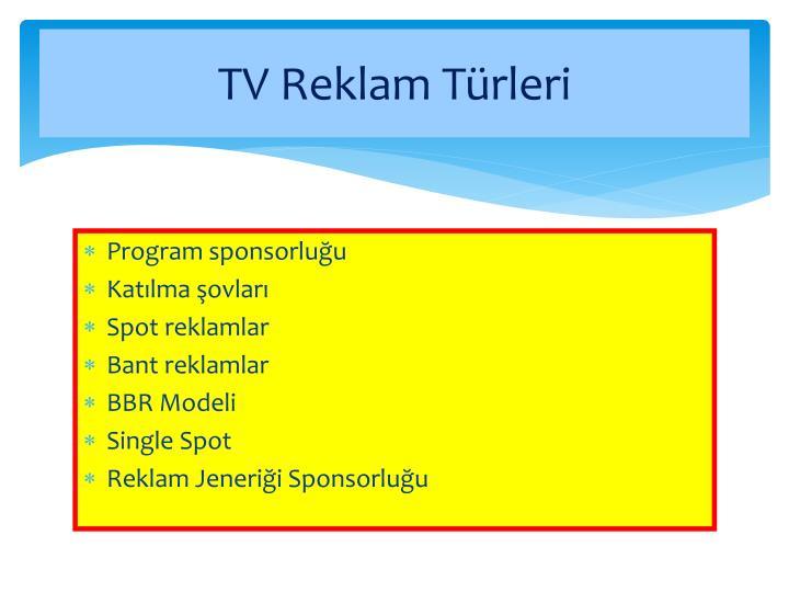 TV Reklam Türleri