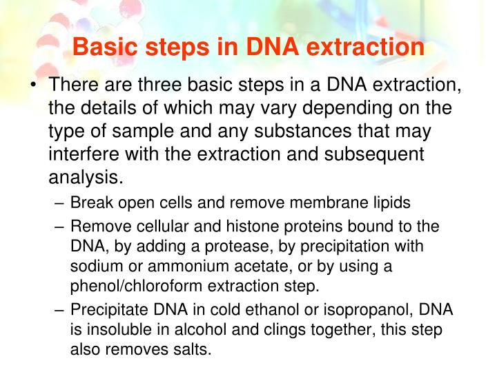 Basic steps in DNA extraction