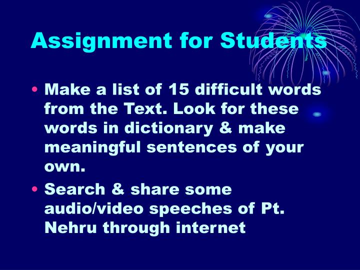 Assignment for Students
