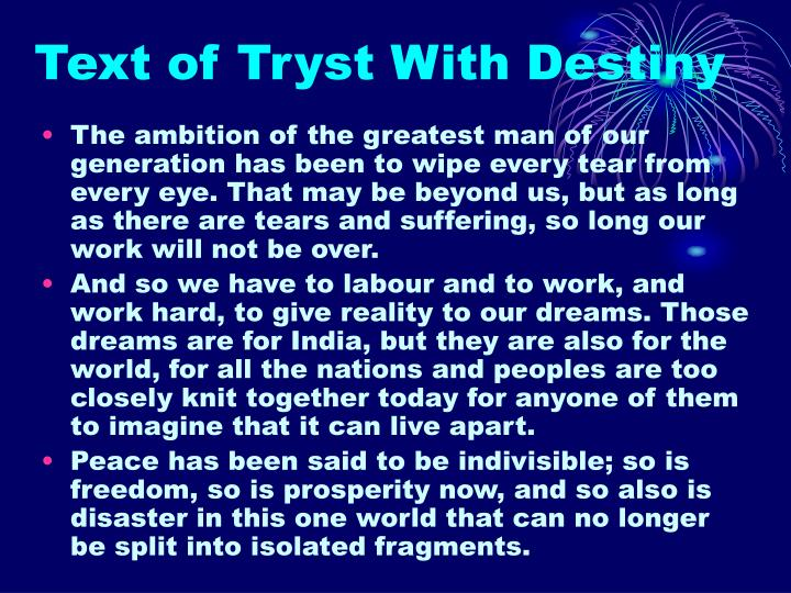Text of Tryst With Destiny