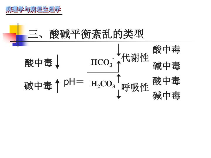 三、酸碱平衡紊乱的类型