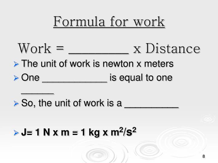 Formula for work