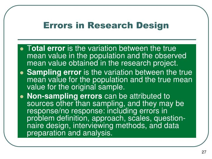 Errors in Research Design