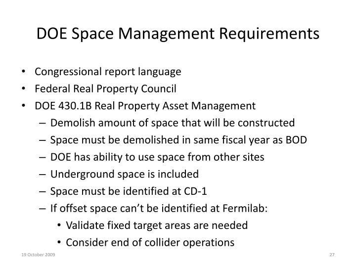 DOE Space Management Requirements
