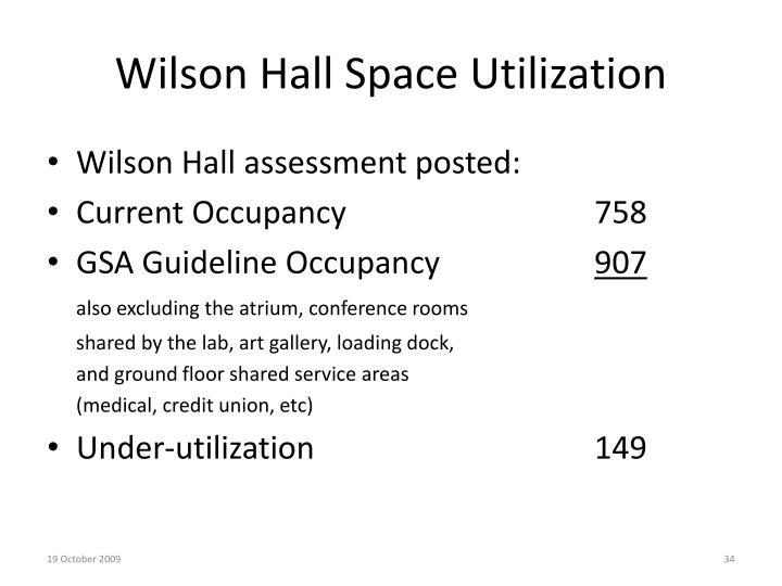 Wilson Hall Space Utilization