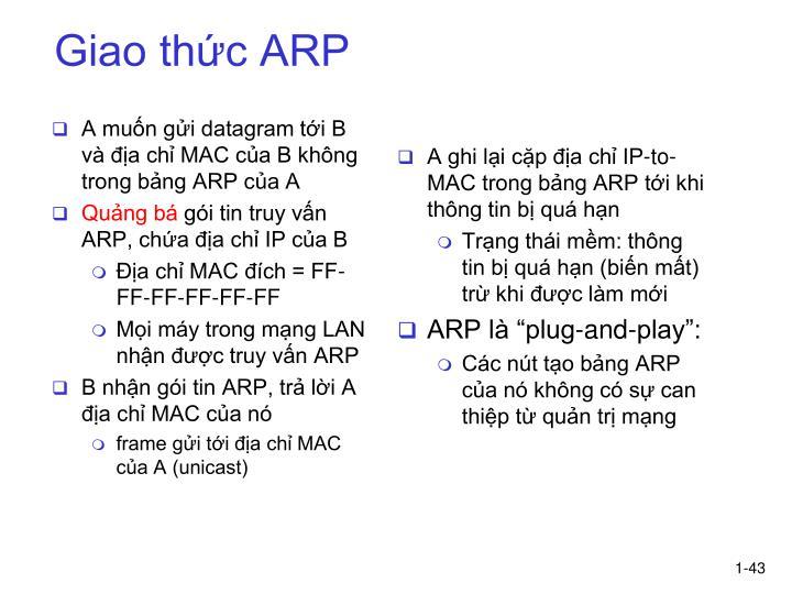 A muốn gửi datagram tới B và địa chỉ MAC của B không trong bảng ARP của A