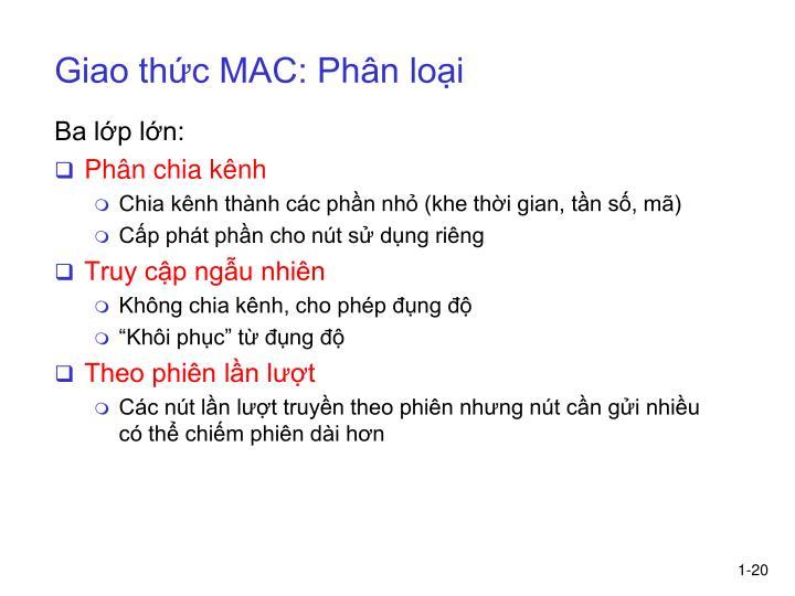Giao thức MAC: Phân loại