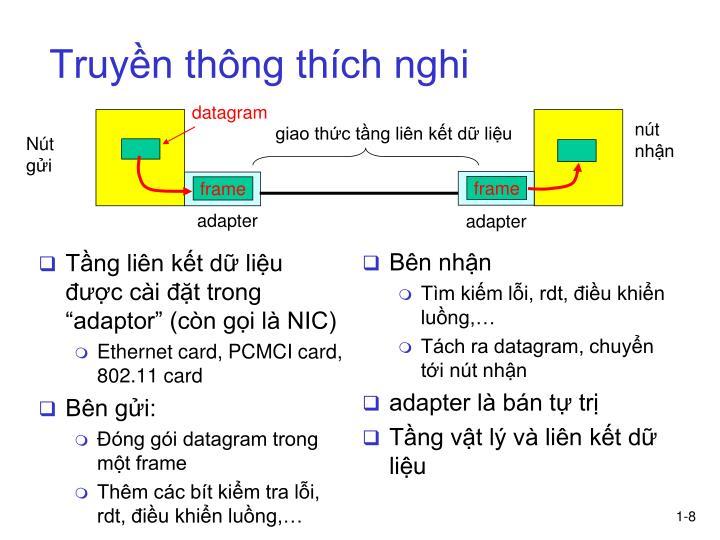 """Tầng liên kết dữ liệu được cài đặt trong """"adaptor"""" (còn gọi là NIC)"""