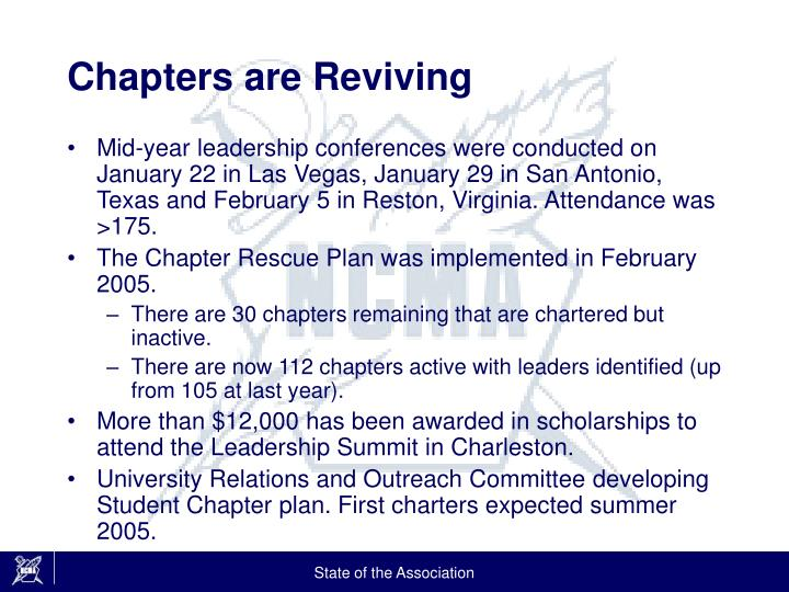 Chapters are Reviving