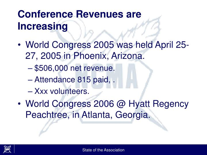 Conference Revenues are Increasing