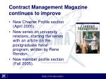 contract management magazine continues to improve