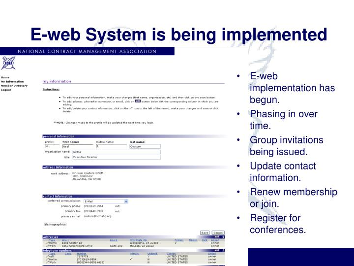 E-web System is being implemented