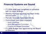 financial systems are sound