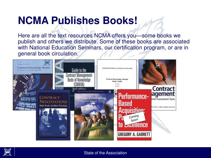 NCMA Publishes Books!