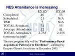 nes attendance is increasing