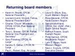 returning board members