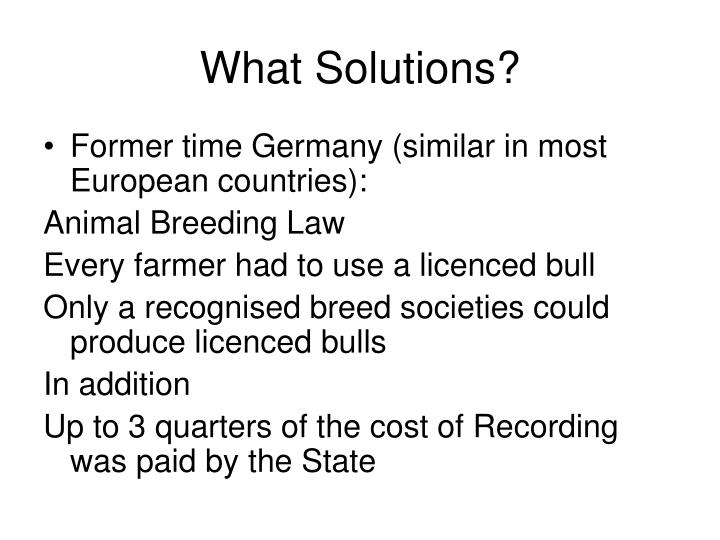 What Solutions?