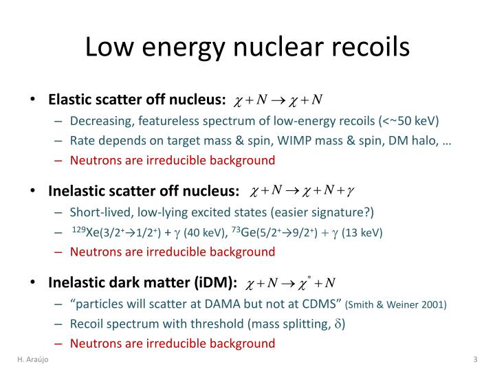 Low energy nuclear recoils