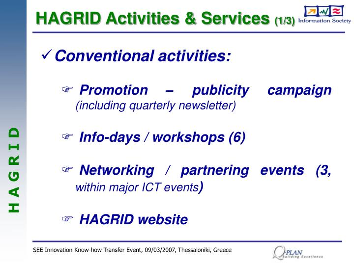 HAGRID Activities & Services