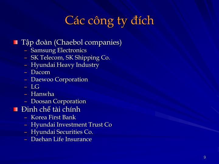 Các công ty đích