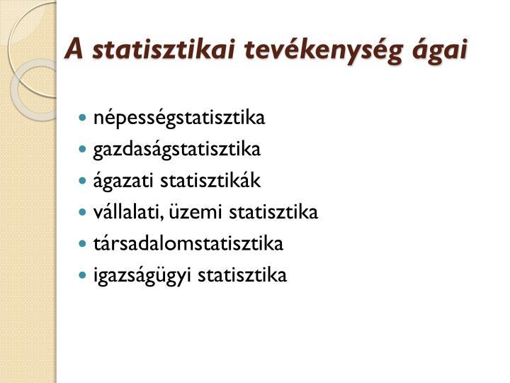 A statisztikai tevékenység ágai
