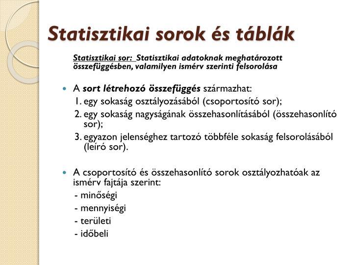 Statisztikai sorok és táblák